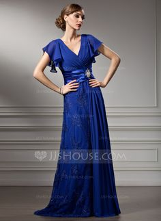A-Line/Princess V-neck Sweep Train Chiffon Charmeuse Lace Mother of the Bride Dress With Beading Cascading Ruffles (008005755)
