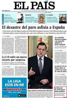 """El País (España) - 25 de enero de 2013. La portada con que el periódico se disculpó por la foto falsa de Chávez: """"La foto que EL PAÍS nunca debió publicar""""."""
