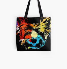 Cool Yorkie dog animal print tote bag. Watercolor art work for Yorkshire Terrier lovers. Cat Dad, Dog Mom, Animal Print Tote Bags, Beagle Art, Dog Artwork, Yorkie Dogs, Kawaii Cat, Cute Pugs, Cat Colors