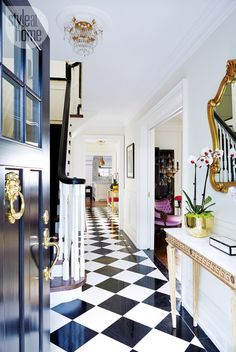The home of Jessica Waks (design editor of Style at Home). Exotic and eclectic color character, plenty of glamour, black and white with pops of royal, vivid purple. Magazine: Style at Home Canada April 2014 Title: Pure Imagination Photo: Stacey Brandford Design Entrée, Foyer Design, House Design, Lobby Design, Entrance Design, Design Ideas, Home Interior Design, Interior And Exterior, Interior Decorating