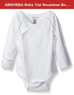 ABSORBA Baby Uni Seamless Body Suit, Grey/White, 6 Months. A newborn, unisex seamless body suit. The body suit has all of the seams on the outside so as not to irritate the baby. Comes with an asymmetrical opening to give the baby that snug feel.