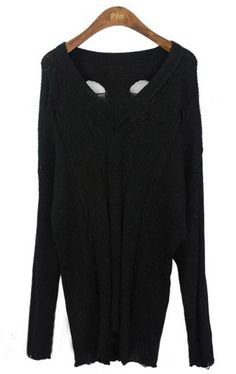 I love this!  ♥Black Long Sleeve V-neck Ripped Distressed Jumper Sweater
