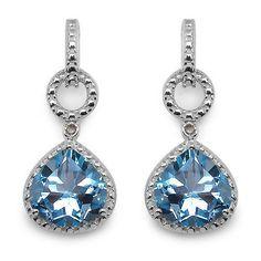 Exclusive 7,06 Carat Blautopas, Diamant Ohrhänger, Ohrstecker, 925 Silber