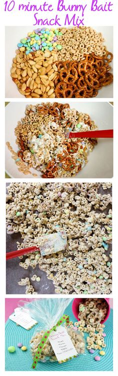 Bunny Bait Snack Mix. Try not to eat it all before putting it in the Easter baskets!  *Free printable treat tags :) recipe: http://blog.candiquik.com/?p=5621