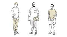 Tシャツを一枚で着ることは簡単ですが、お洒落に見せるのはなかなかです。とはいえ、サイズバランスを見極めれば、モデル体型でなくてもそれなりに洒落て見せることができます。そのあたりを踏 Bollywood Images, Body Action, Fashion Sketches, Fashion Details, Illustration Art, Illustrations, Cool Style, Cool Designs, How To Draw Hands