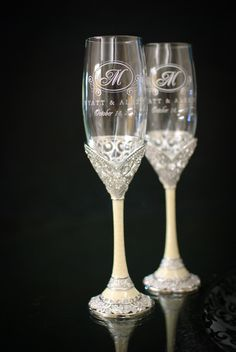 Our wedding glasses from Things Remembered
