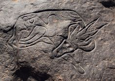 Sleeping Antelope, prehistoric art in Tassili n'Ajjer (Plateau of the Rivers), Sahara Desert