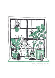 Illustration made by Sanny van Loon for Wildernis - www.wildernisamsterdam.nl | plants | gouache | window | interior