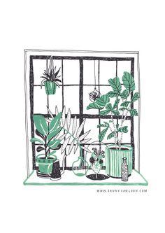 Illustration made by Sanny van Loon for Wildernis - www.wildernisamsterdam.nl | plants | gouache | window | interior