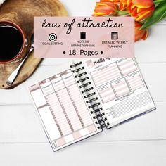 Law Of Attraction Manifest Manifestation Planner Printable Goal Planner Monthly Weekly Dream Planner by DesignerJaim on Etsy Goals Planner, Blog Planner, Monthly Planner, Happy Planner, Printable Planner, Event Planning Business, Business Planner, Law Of Attraction Planner, Creating A Blog