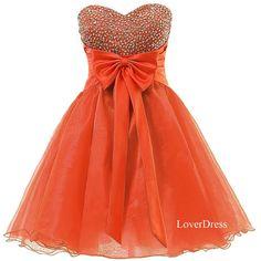 Sweet 16 Dress, Orange Homecoming Dresses, Sweetheart Organza Short Cute Homecoming Dresses / Party Dresses / Prom Dresses