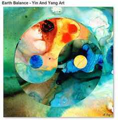 Yin And Yang Art Print from Painting Colorful Red Blue Abstract Yoga Aqua Asian Zen CANVAS Ready To Hang Large Artwork Big Peace Sign Green