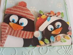 3D decoupage handmade embossed Christmas greeting card - penguins with hats and scarves playing in the snow with Christmas lights by ArtDenia on Etsy