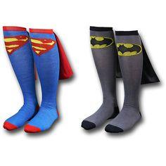 Superhero Cape Socks ($15) ❤ liked on Polyvore featuring intimates, hosiery, socks, shoes, accessories, batman, pajamas and superman socks