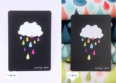 Jetzt *NEU* die beliebten Stoff Designs von Hamburger Liebe auch als *Postkarte*!    +Schreib mal wieder!+  Mit dem coolen Motiv *Bunte Regenwolke* ,
