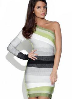One Shoulder Gradient Bandage Dress,  Dress, one shoulder dress  bandage dress, Chic