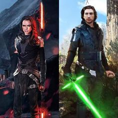 AU Dark Side Rey/Light Side Kylo- this is so cool!