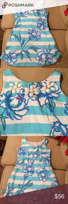 Lilly Pulitzer Little Girl shift size 8 Lilly Pulitzer Little Girl shift size 8.   Fully lined dress with embellished front.  100% cotton.  Beautiful dress. Lilly Pulitzer Dresses