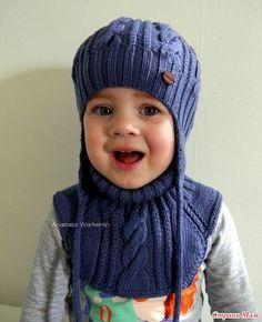 Мобильный LiveInternet шапка с ушками и манишка спицами для ребёнка 3-5 лет | Maja2012 - |
