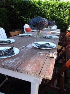I really want to make my farm style dining table.  Love the upcycled barn door here!