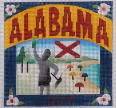 Denise DeRusha Designs Alabama Hand Painted Needlepoint Canvas 18 count