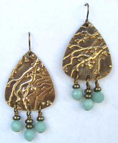Amazonite beads & Vintaj brass components embossed using Sizzix BigKick. An original design by Lydia Chapman.