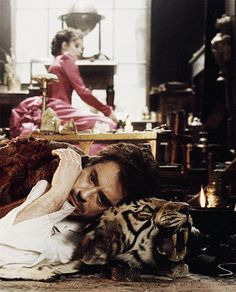 "Tiger pillows are the new sexy. Robert Downey Jr. and Rachel McAdams in ""Sherlock Holmes"" (2009)."