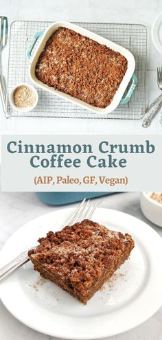 This AIP Cinnamon Crumble Coffee Cake is decadent, moist, Paleo, vegan, gluten-free, dairy-free, egg-free, soy-free, and totally delicious. #aip #autoimmuneprotocol #paleo #glutenfree #eggfree #soyfree #dairyfree #vegan #coffeecake #paleocake #aipcake #aipcoffeecake #breakfastbread #breakfastcake #tigernut #greenbananaflour Low Carb Desserts, Fun Desserts, Dessert Recipes, Low Sugar Recipes, Vegan Recipes, Crumb Coffee Cakes, Banana Flour, Cinnamon Crumble, Dairy Free
