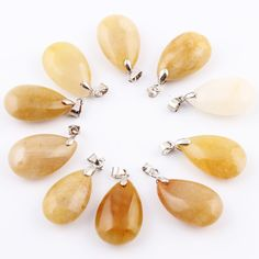 10pcs/lot Yellow jade Natural stone Water Drop Pendants Pendulum Crystal Chakra Healing Reiki Beads Free pouch