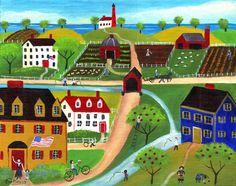 Americana Riverside Village Folk Art Print