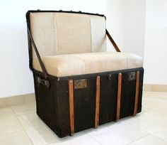 """The """"Trunkie chair"""" an Upcycled Steamer Trunk alternative, hand crafted seating with bespoke designs - TheRetroStation  - 1"""