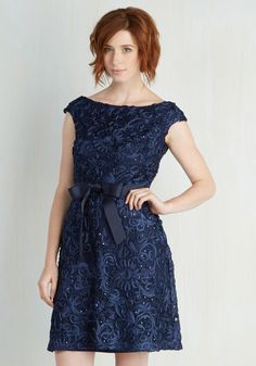 That's My Swirl Dress - Blue, Solid, Wedding, Party, Bridesmaid, A-line, Short Sleeves, Woven, Better, Belted, Homecoming, Lace