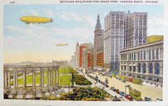 Michigan Boulevard and Grant Park - Chicago, Illinois Blackstone Hotel, Grant Park, Savings Bank, Missouri, Kansas City, Ohio, Michigan, Public, Tower