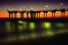 The Aliso Beach Pier in Laguna Beach, Orange County, California