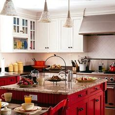 Stunning Red Kitchen Design and Decorating Ideas. Beautiful pictures of modular red color kitchen. See more ideas about Home ideas, My house and Colorful kitchens. Red Kitchen Island, Two Tone Kitchen Cabinets, Red Cabinets, Kitchen Cabinet Colors, Painting Kitchen Cabinets, Kitchen Colors, Kitchen Design, Updated Kitchen, New Kitchen