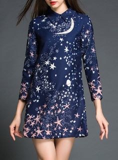 Fashionable Flat Collar Star Printed 3/4 Sleeve Dress For Women