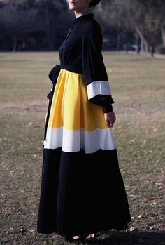 Marguerite Abaya Dress Black / Plus Size Maxi Dress / Black White Yellow Long Dress / Hijab Dress / Abaya Dress / Modest Dress / Church Dress Plus Size Maxi Dresses, Modest Dresses, Stylish Dresses, Modest Clothing, Abaya Fashion, Muslim Fashion, Fashion Outfits, Mode Abaya, Mode Hijab