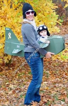 Homemade Mom and Baby Aviator Costumes: My idea to be a team of mother and baby aviators originated from an aviator style winter hat that I bought my 6 month old son a few months ago. I made
