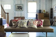 Modern Home Featuring our Pillows and Celine Wallpaper