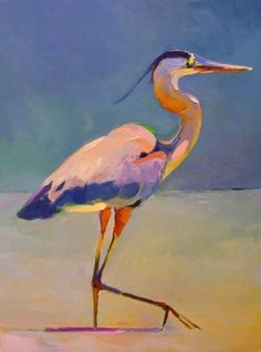 Beautiful Heron painting by Bob Ransley http://bobransley.org/