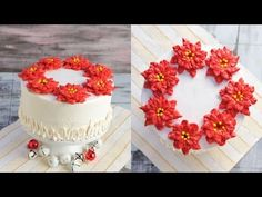 CHRISTMAS POINSETTIA BUTTERCREAM WREATH CAKE, HANIELA'S - YouTube