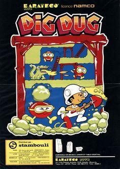 Love this whimsical, old school cartoon style Dig Dug artwork.