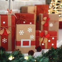 Envoltorios originales para regalos navideños: Red & Brown
