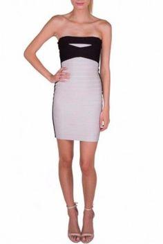 Herve Leger Simone Strapless Black and White Dress