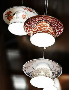 Teacup light fixture. This post also has several other great uses for old teacups (or new).