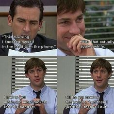 """The Best Pranks Jim Pulled On Dwight In """"The Office"""" When Jim gradually increases the weight of Dwight's telephone.When Jim gradually increases the weight of Dwight's telephone. Dundee, The Office Show, Office Tv, Office Prank, The Office Dwight, The Office Season 2, Dwight And Jim, The Office Jim, Funny Memes"""
