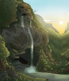 Huh, so some Golems do drool when they sleep.   Waterfall by Kinotastic on deviantART