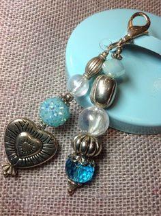 Shades of Blue Chunky Bead Purse, Keychain, Backpack Charm