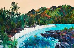 """This painting is based on a series of photos I took kayaking around the island of Mo'orea in the French Polynesia. This particular beach was reserved for tourists only and had a large sign """"tabu"""" which is tahitian for """"forbidden"""" for the locals.   The painting involves pouring layers of neon and metallic paint under the realistic landscape in order to create an unsettling yet beautiful and other worldly space. Also, the water has a gloss paint to further create an id..."""