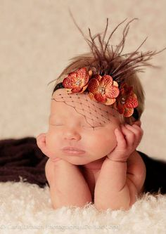 The Naomi - PUMPKIN SPICE - Triple Hydrangea with Russian Veiling and Ostrich Feathers Headband GORGEOUS Photo Prop - Perfect for Newborns on Etsy, $10.75